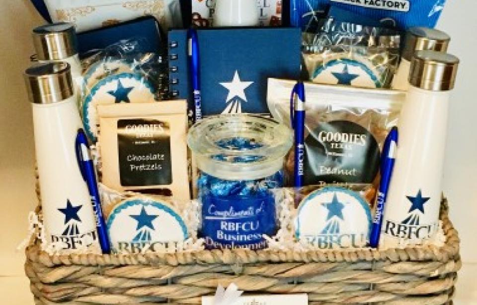 Corporate Custom Thank You Gift - Custom Thank You Gift Basket from Randolph Brooks Federal Credit Union to a Chamber of Commerce. The client provided the promotional items, and we added gourmet products, and customized scratch bake logo cookies. We help clients brand the business.