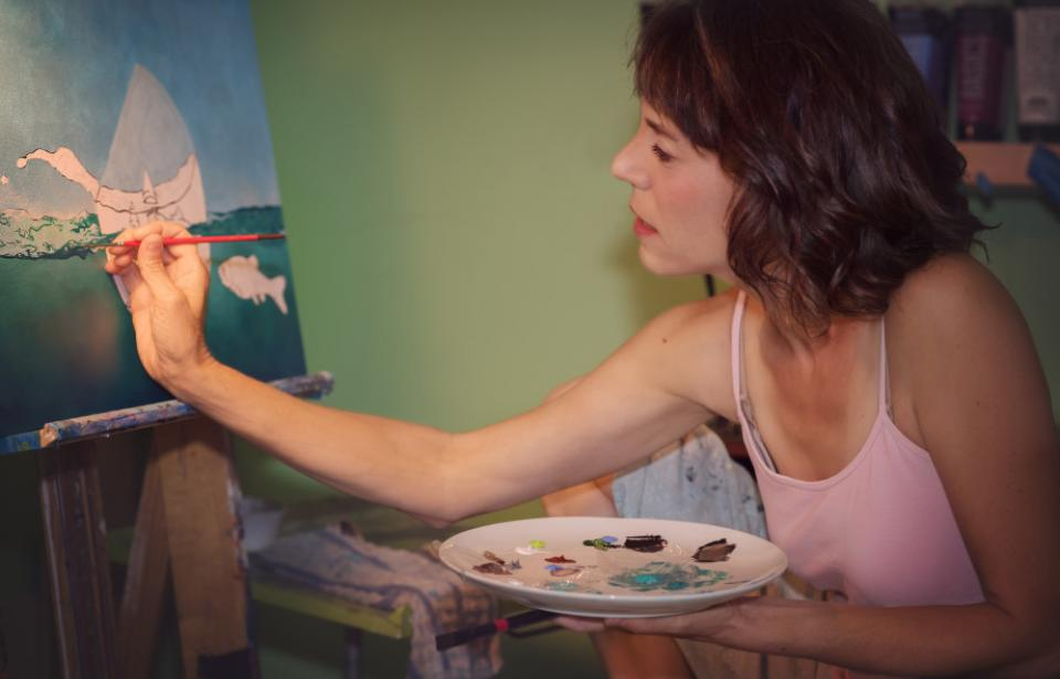 Lisa Rosenmeier at work painting