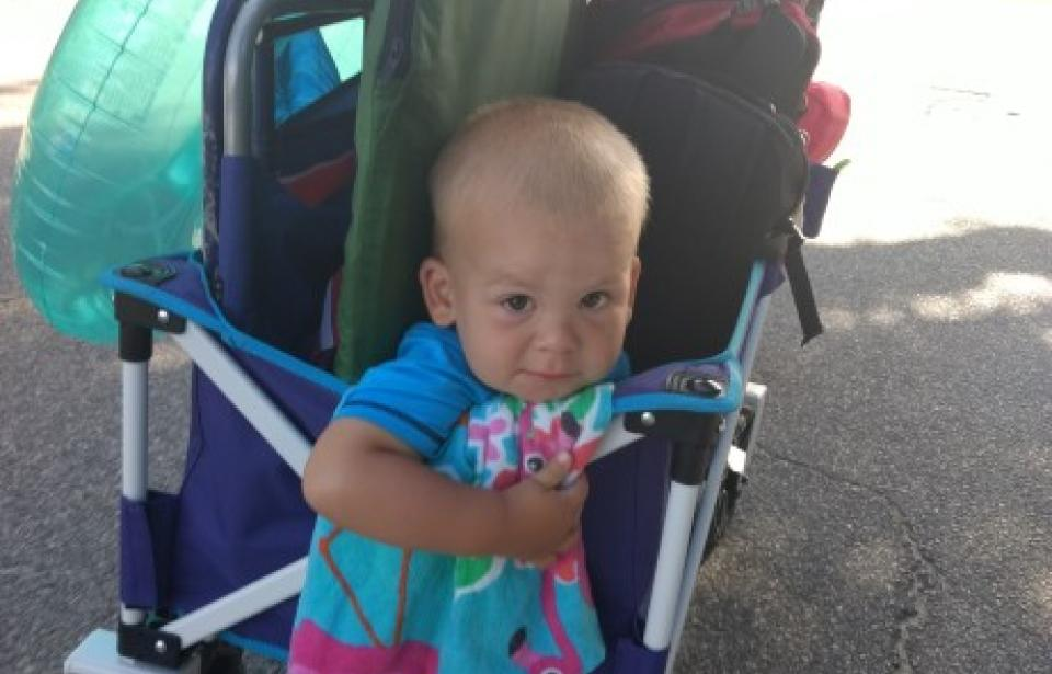 Headed to the Beach! - Baby in cart loaded with beach fun!