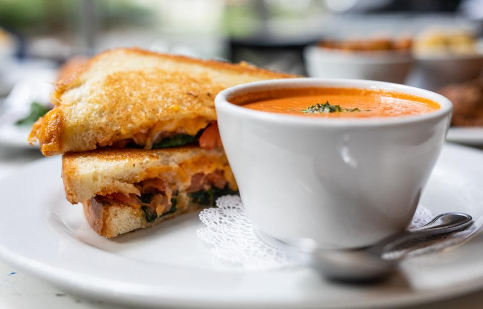 Soho's Classic Combo with Signature Tomato Basil Bisque and Grilled Cheese