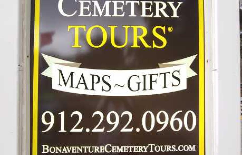 OOOOO----Our New Sign!! So Fresh, So Clean!!  Just a few steps to Bonaventure Cemetery.