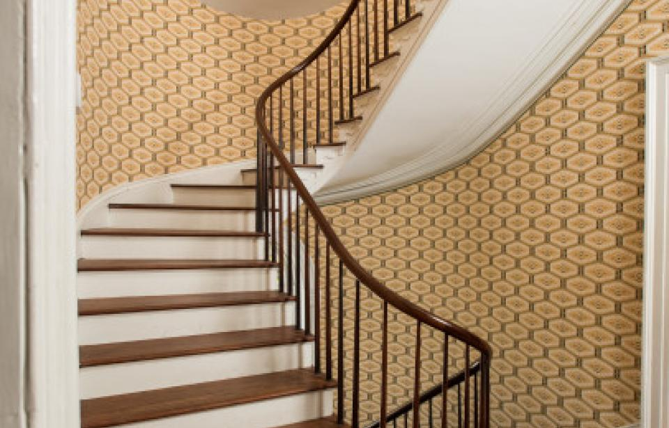 Stair Hall and Historic Wallpaper - The Davenport House is restored to its 1820s appearance with period accurate wallpaper.