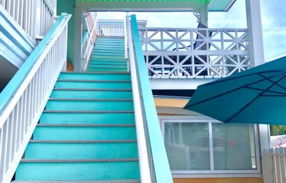 Exterior Staircase - Stair case that leads to all of our second and third floor rooms