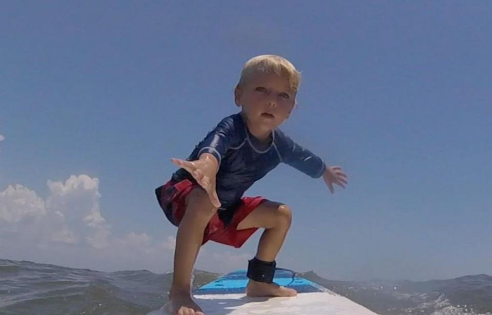 surfing at 5 years old!