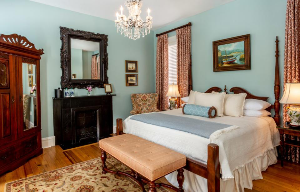 The Kehoe House - With only 13 guest rooms, each is unique and special.  Some return guests make it a goal to stay in every room!  This is the Tybee Island Room, named after Savannah's beach.