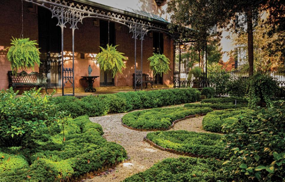The garden of the Green-Meldrim House faces Madison Square