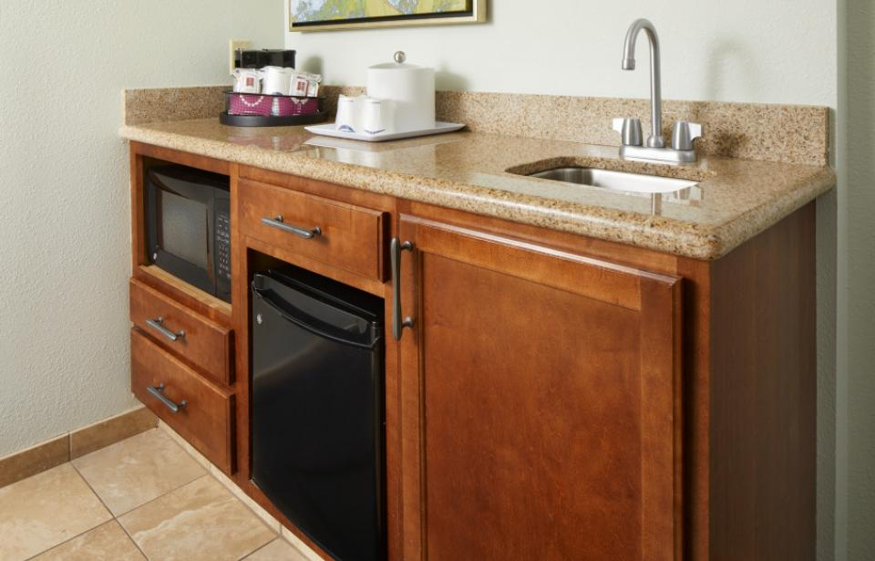 Convenience Center - Our recently renovated guest rooms feature microwave and mini-fridge.