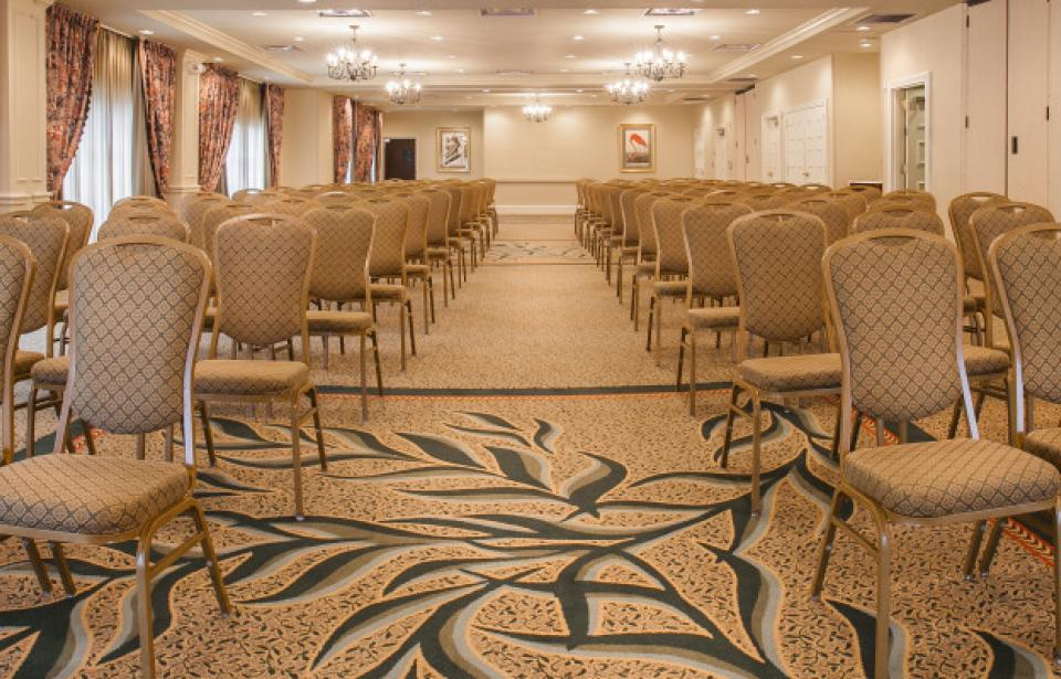 Banquet Space - Our spacious ballroom hosts 2,686 sq. ft. of space that can be divided into three bays if needed.