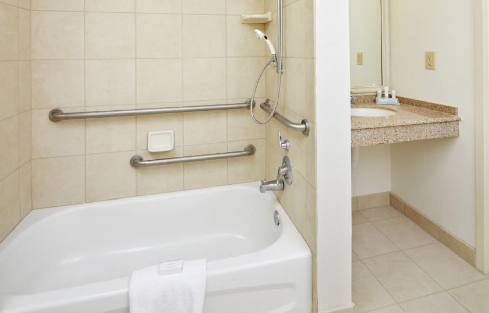 ADA Bathroom - Our Accessible Bathrooms feature ease-of-access ADA tubs and roll-in showers.