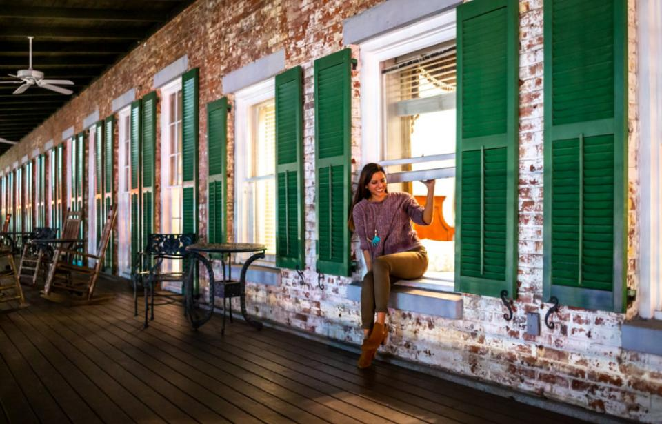The Marshall House Balcony - The rooms on our Broughton Street Balcony are house favorites. Guests climb out windows to access the verandah!