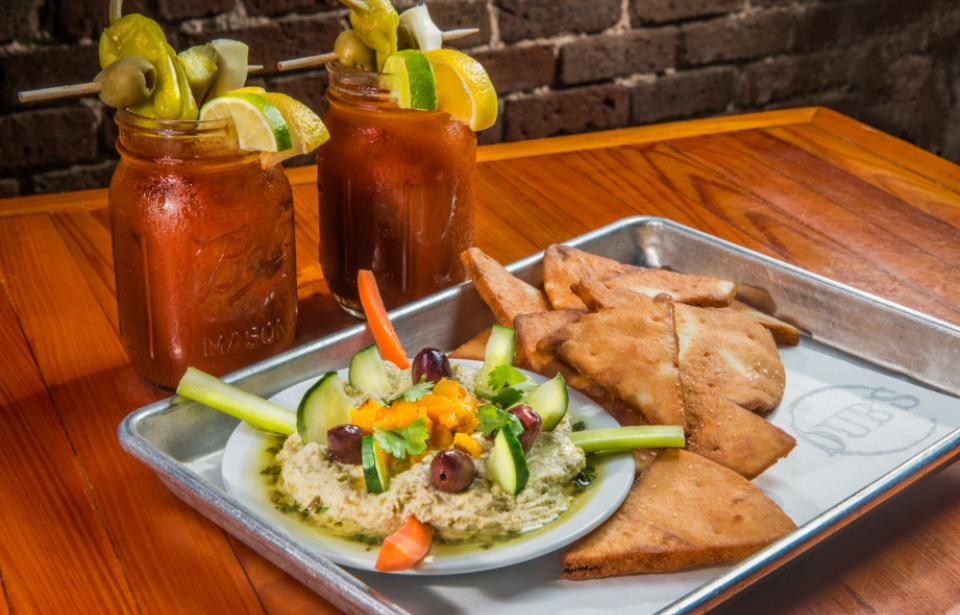 Spring Pea Hummus and Dub's Bloody Marys - House made Spring Pea Hummus served with veggies and pita points