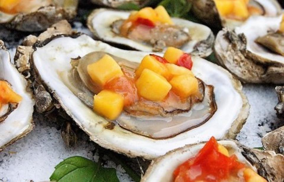 Local Oysters on Half Shell with Mango Mignonette