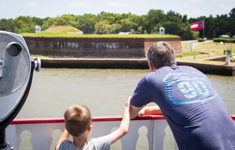 Dad and Son on the Savannah Riverboat