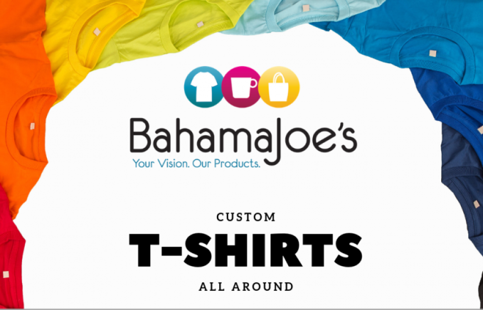 Custom T-Shirts - Bahama Joe's offers a wide variety of t-shirts for you to your custom designs on.