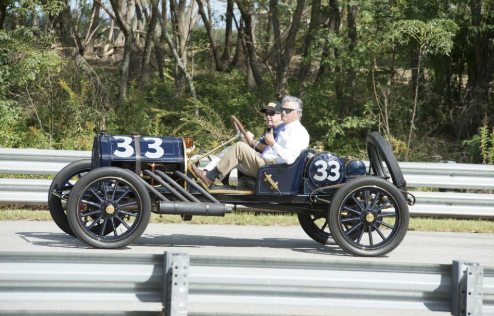 Wind in Our Faces - Even the Mayor can't resist a ride in the 1911 EMF #33 racer. See more racecars like this at the Speed Classic this fall.
