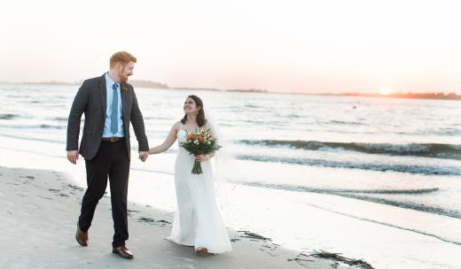 tybee island wedding couple