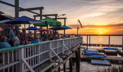 Tybee Island AJ's Dockside Restaurant Patio Boats Dining