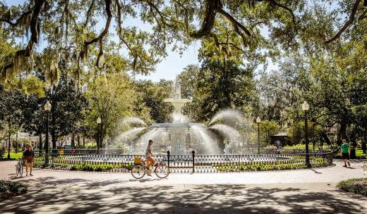 Forsyth Park fountain bicycle