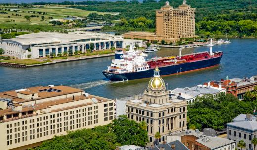 Savannah's waterfront is the perfect place to watch ships pass by